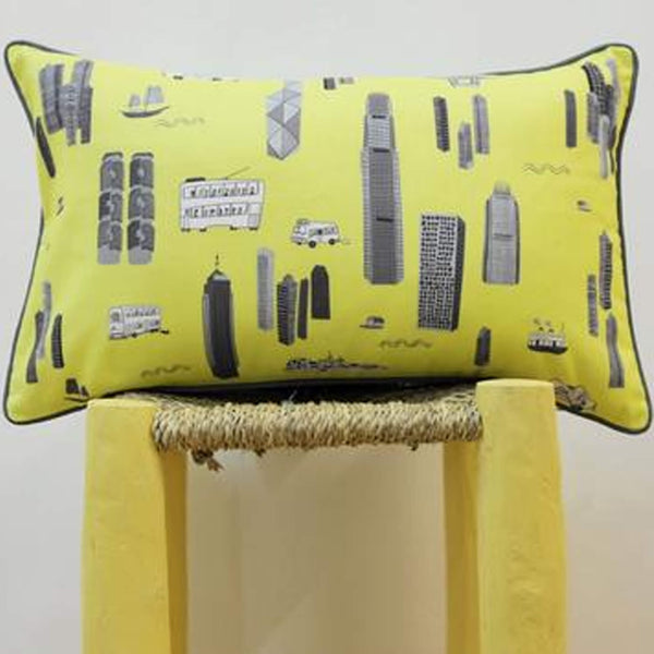 Works of Wonder | Cushion - Bright Yellow & Grey