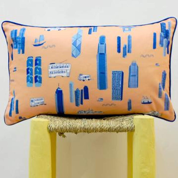 Works of Wonder | Cushion - Peach Orange & Blue