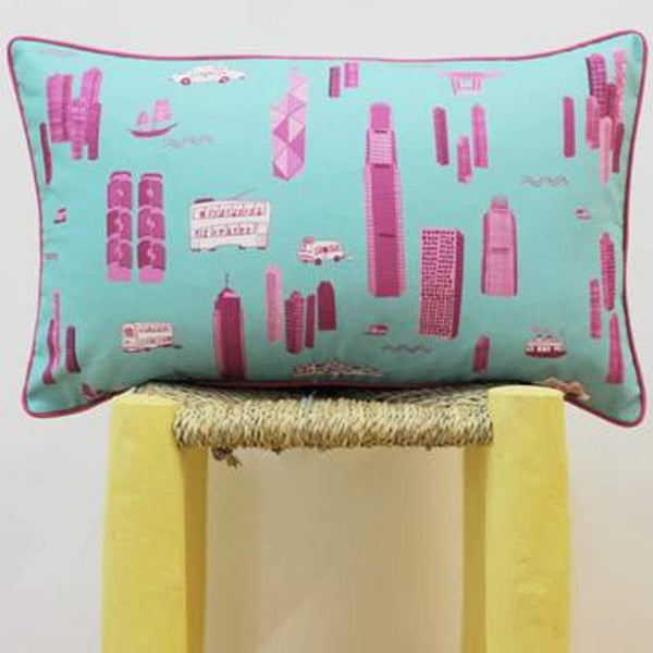 Works of Wonder | Cushion - Turquoise Blue & Pink