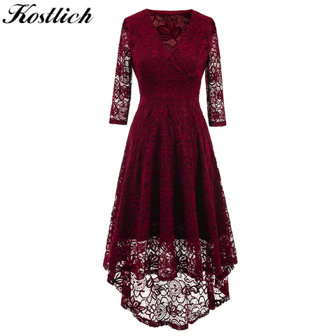 1cf044fc5ca1 Kostlich 2017 Women Autumn Dress V-Neck 3 4 Sleeve Lace Hollow Sexy Evening