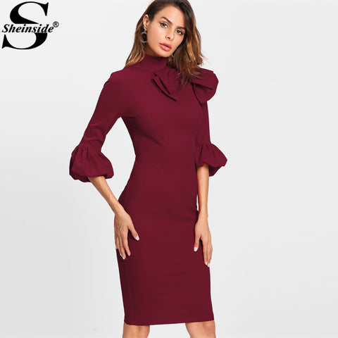 aa7201d0d4a9c Sheinside 2017 Party Dress Exaggerate Bow Detail Trumpet Sleeve Winter Dress  Burgundy High Neck 3/