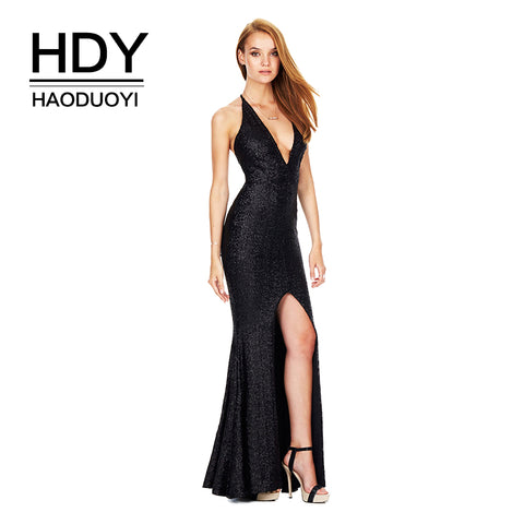 HDY Haoduoyi Brand 2017 Christmas Evening Sequin Long Dress Sexy Deep V-neck  Backless Women 1c37a4fc5472