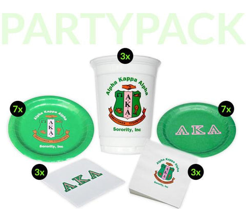 AKA - Alpha Kappa Alpha - Party Pack  (White Cups)