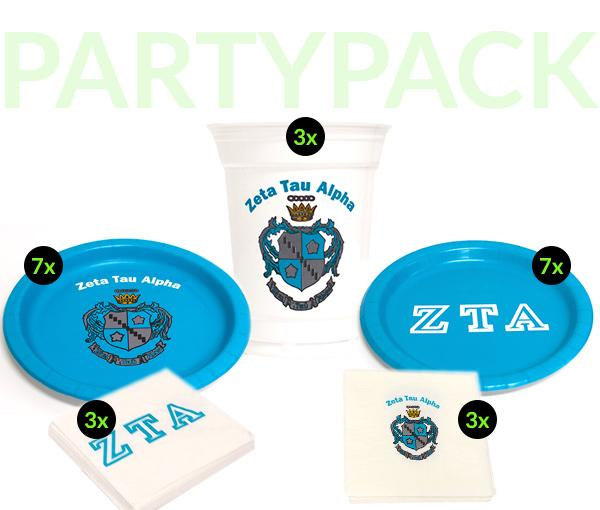 ZTA - Zeta Tau Alpha - Party Pack (White Cups)