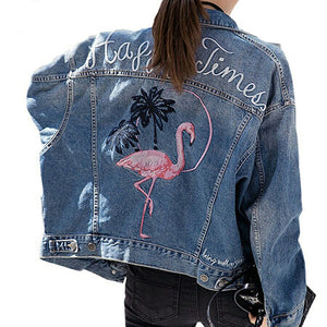 'Flamingo' Denim Jacket, - Koreanbae