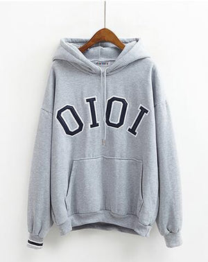 Women'S Kawaii Loose Letter Print Thickening With A Hood Harajuku Cute Sweatshirt Female Thick Fleece Hoodies For Women,  - Koreanbae