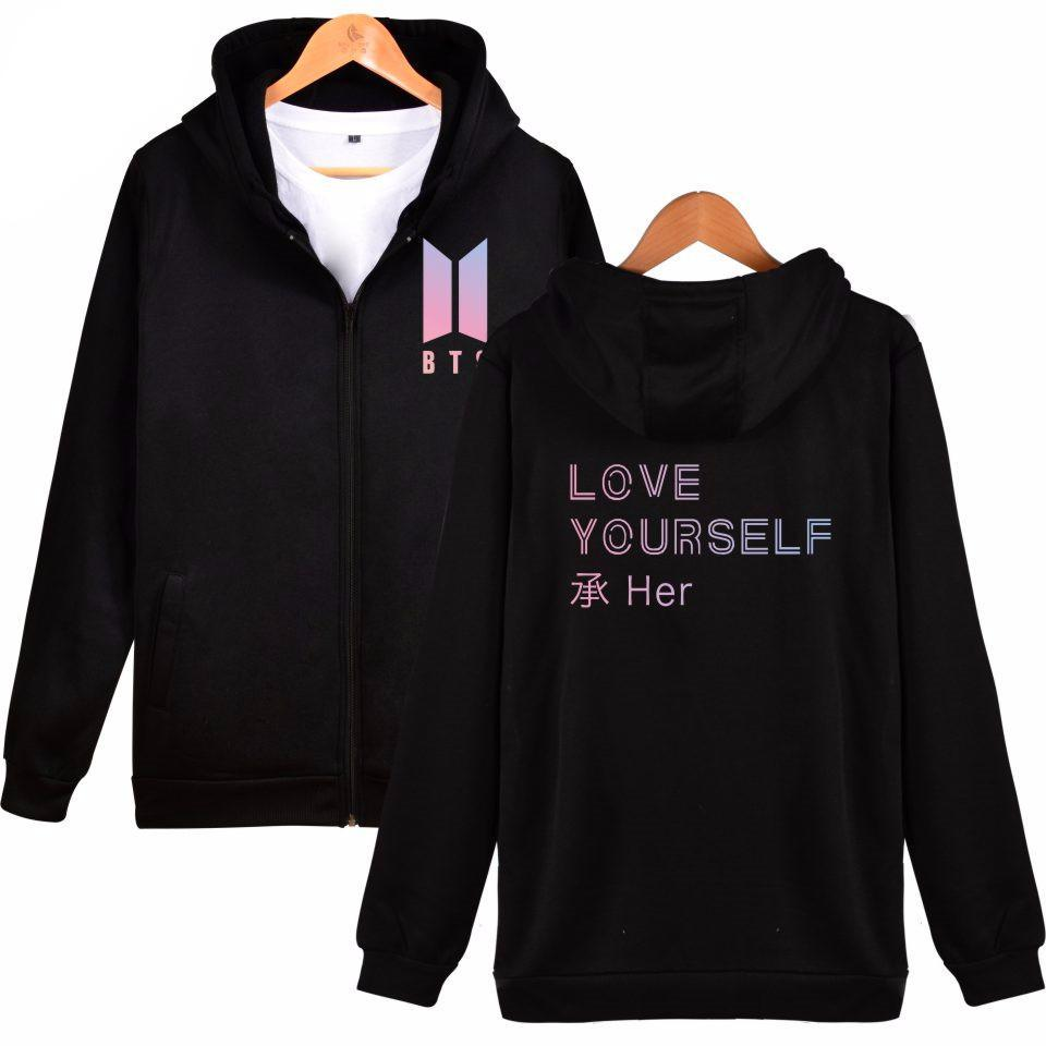 'BTS Love Yourself' Zip Hoodie, - Koreanbae