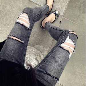 'Ripped Grey' Jeans, - Koreanbae