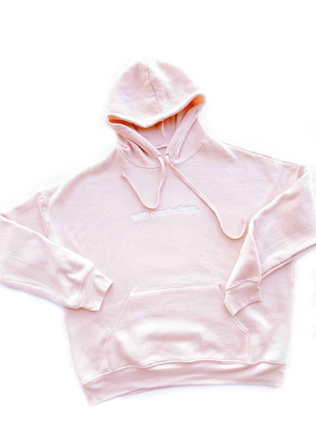 Faith Over Feelings Embroidered Hoodie - PEACH