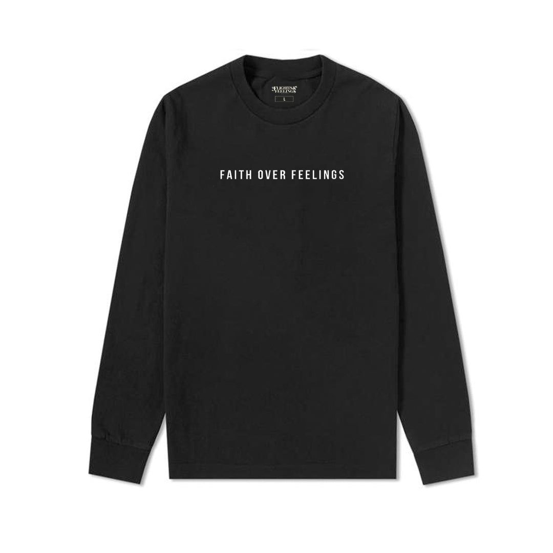 Faith Over Feelings Black Crewneck