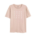 Faith Over Feelings Peach Tee