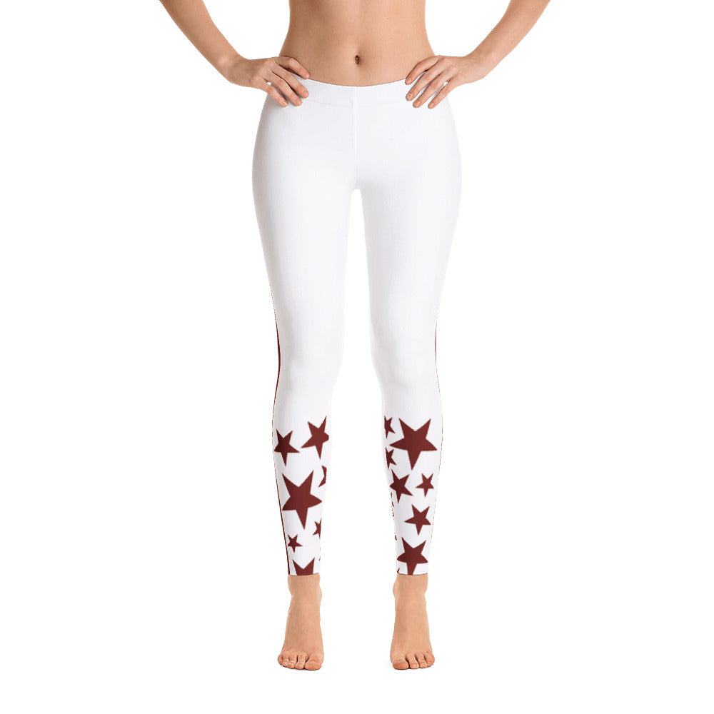 4e30edd4e5 STARLETS White & Burgundy Athletic Tights – Starlets_StarsTrackClub