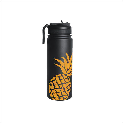 18 oz Pineapple Sports Insulated Water Bottle with Loop Handle Straw Lid