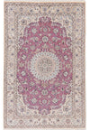 "5'1"" x 8'3"" Persian Nain Lavender Purple Wool & Silk Rug"
