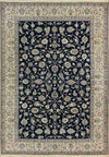 7 x 10 Persian Nain Wool & Silk All-Over Navy Blue