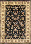 6 x 9 Ziglar Home Dyed Oriental Black Traditional Wool Handmade Rug