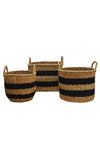 Jute Basket - Black and Natural Striped