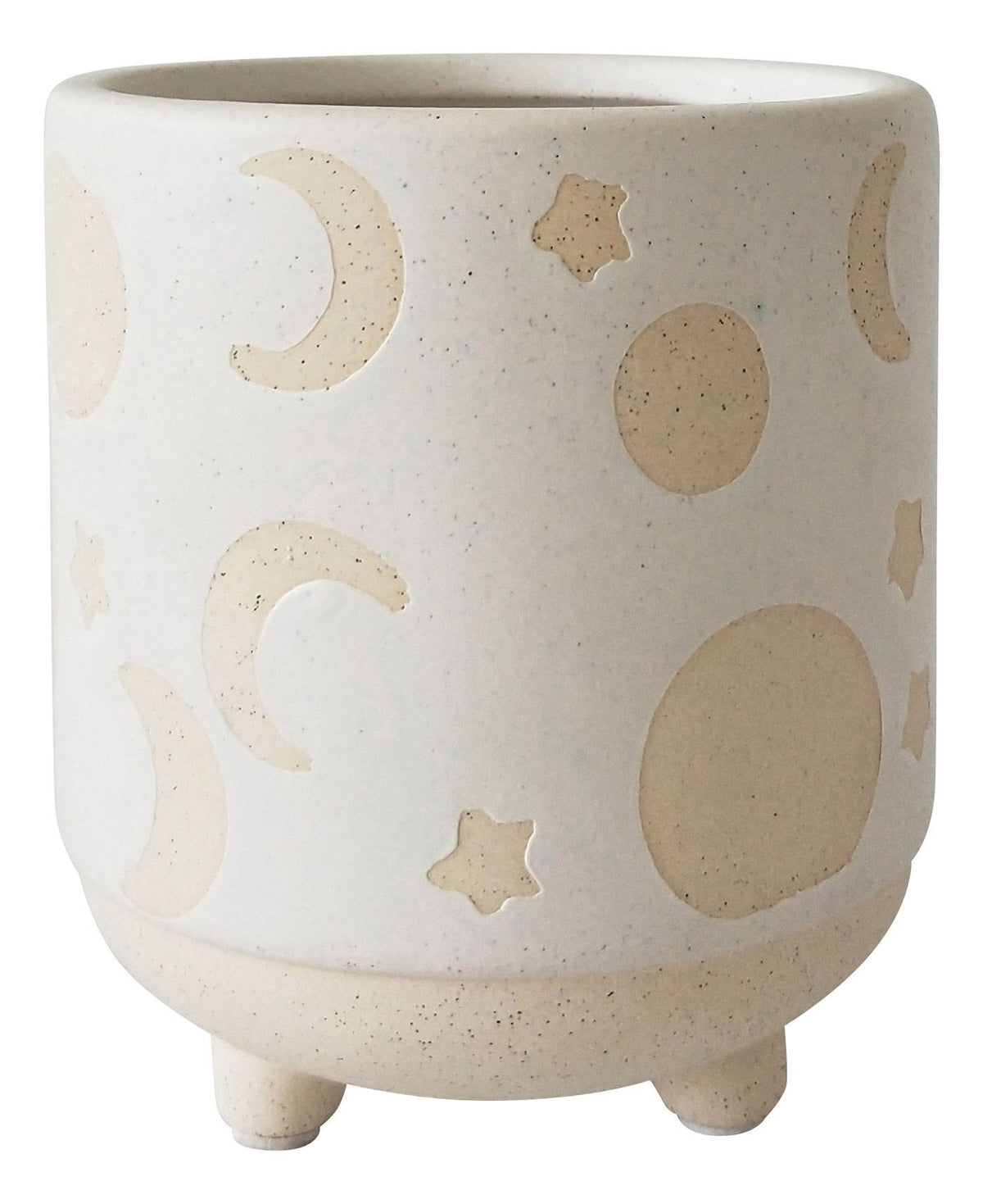 Elemental Moon Planter - White & Sand