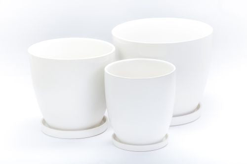 Matte Pot with Saucer - White