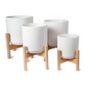 Flower Pot with Wooden Stand White