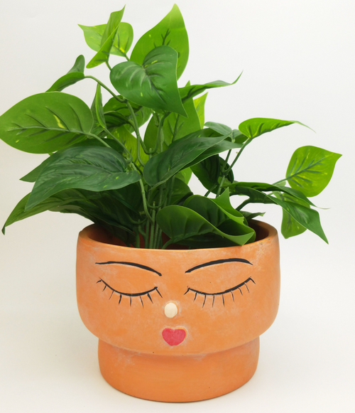 Face Squat Planter Large - Terracotta