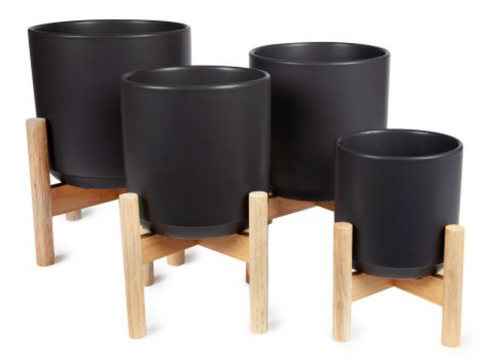 Flower Pot On Wooden Stand - Black