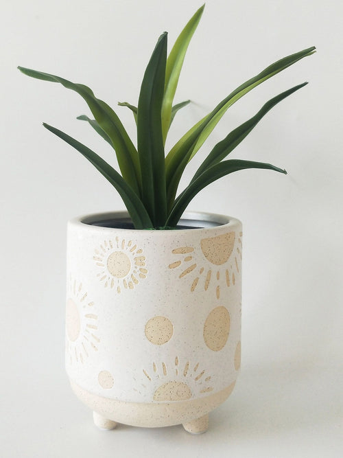 Elemental Sun Planter - White & Sand