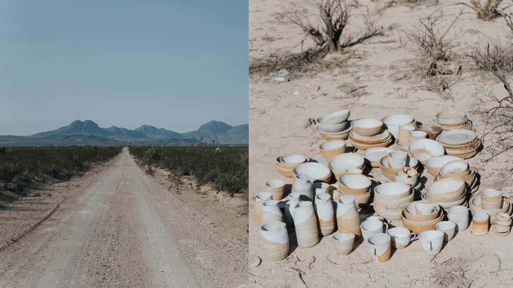 west texas desert and pottery pieces on the ground