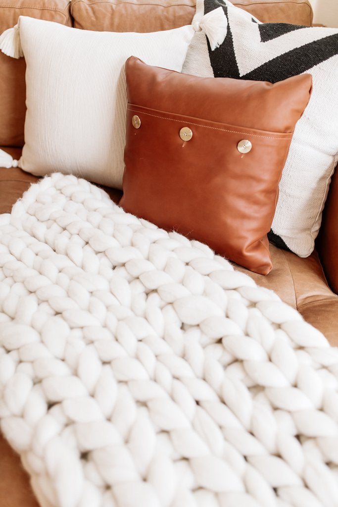 August Sage Chunky wool throw and pillows