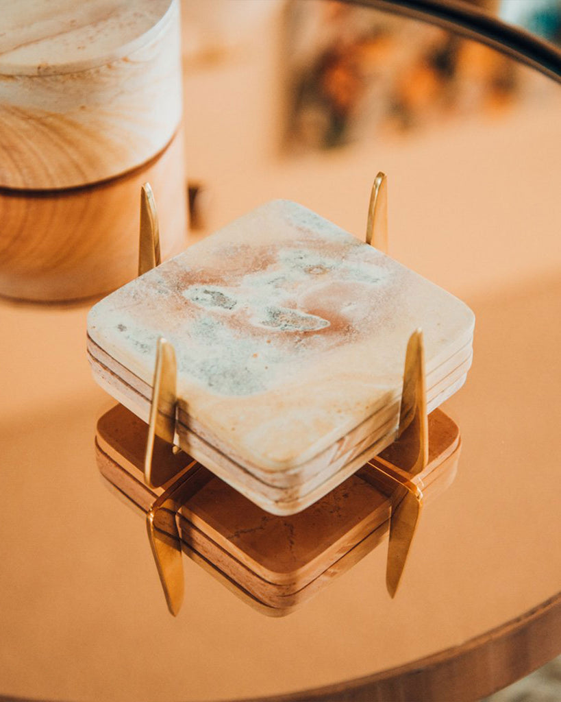 Pure Brass and Soapstone Coaster Set