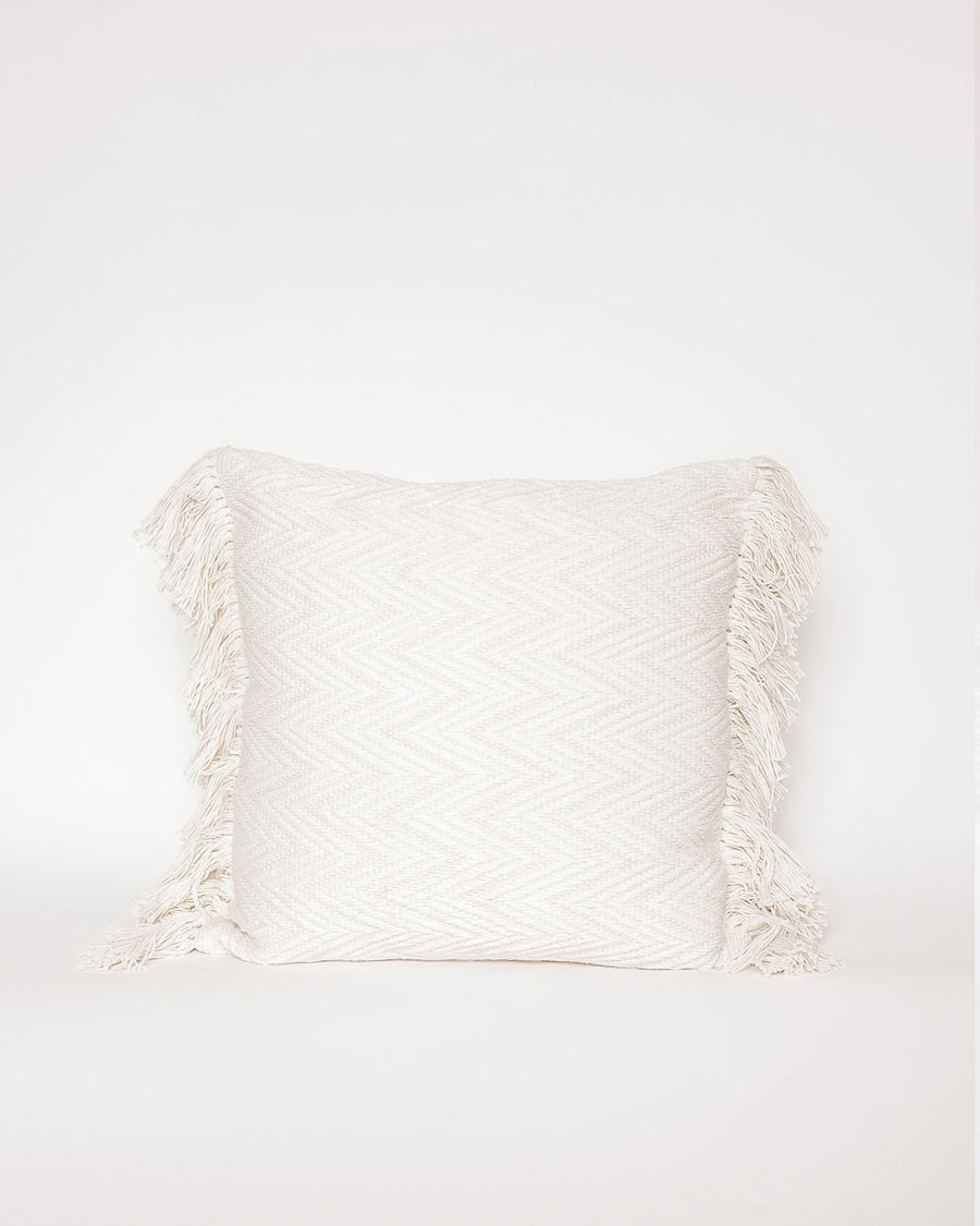 Amaru White Fringe Pillow