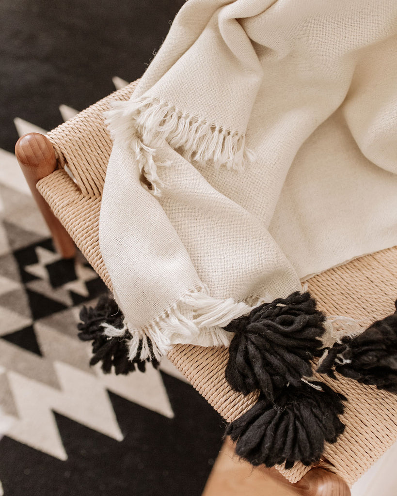 Ivory & Black Pampa Alpaca Hand-Loom Lightweight Throw