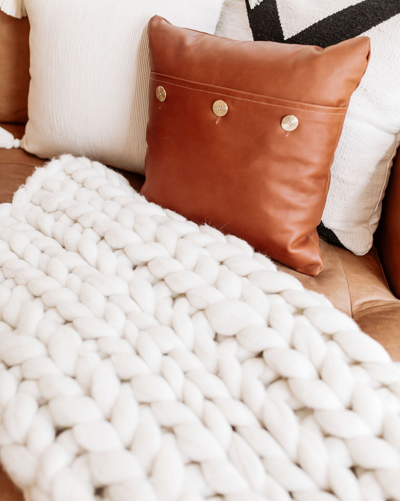 Chunky Wool Hand-Knit Blanket Throw