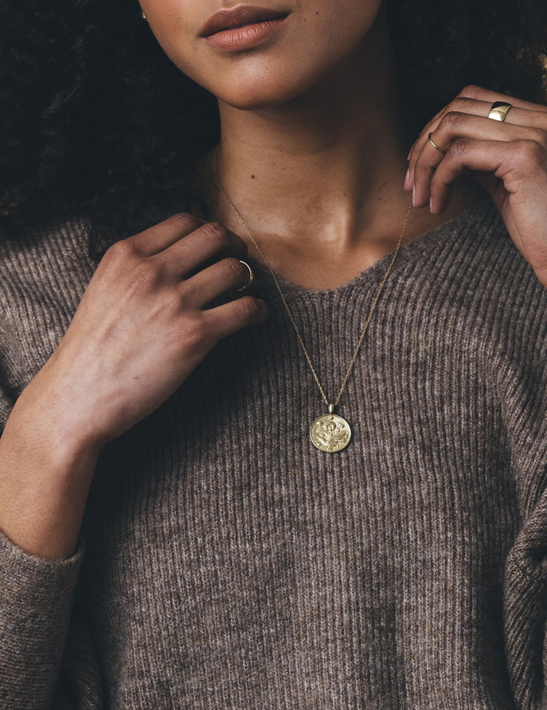 Anywhere, Anywhere Gold Plated Medallion - Thin Gold Filled Chain