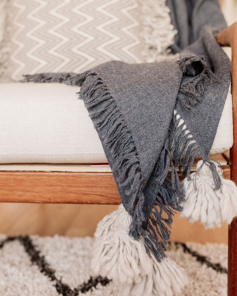 Navy Pampa Alpaca Lightweight Throw