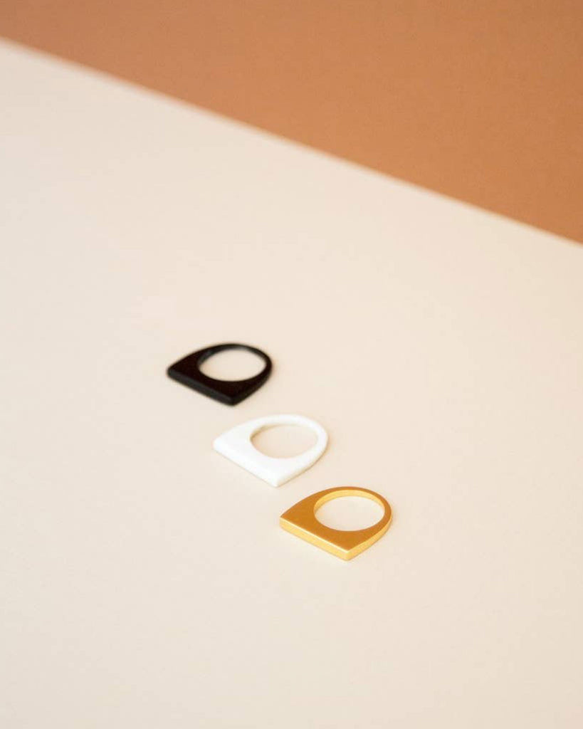 Black, White & Gold Ring Set