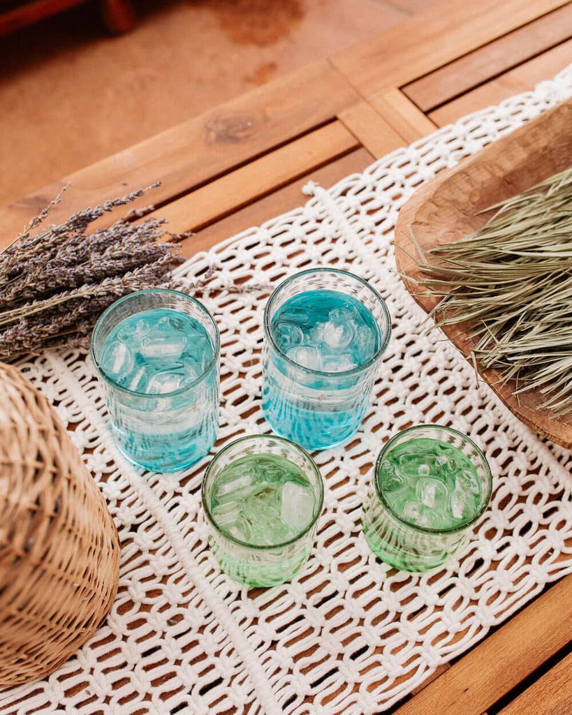 Xela Turquoise Glass Set- Tall