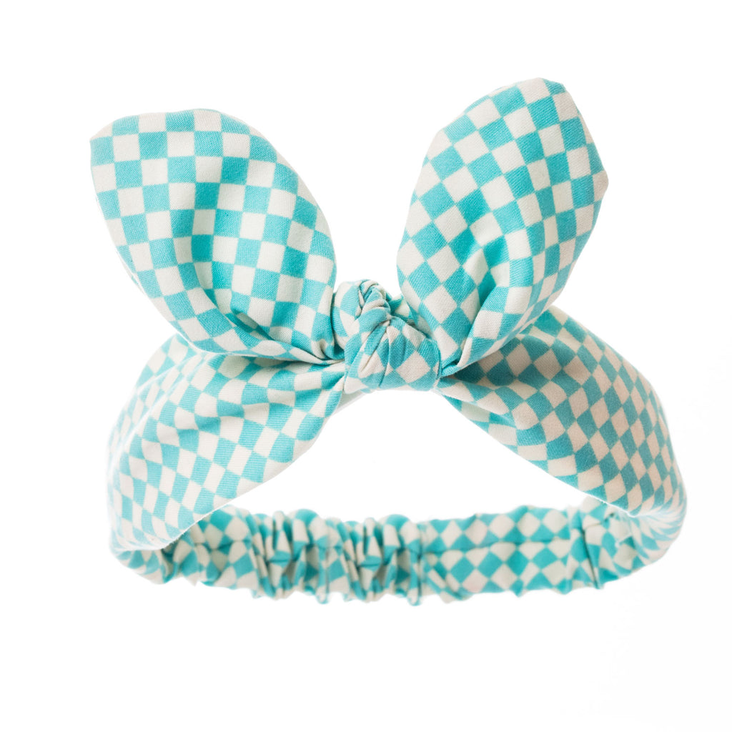 Bonnie Ears headband Chequered Turquoise & White