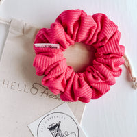 Ribbed Raspberry Scrunchie