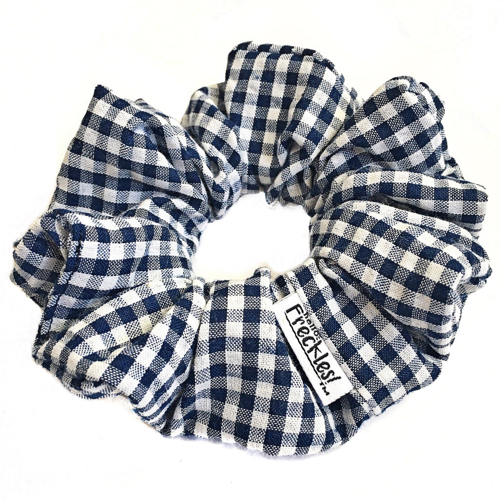 Navy  Blue Gingham Scrunchie
