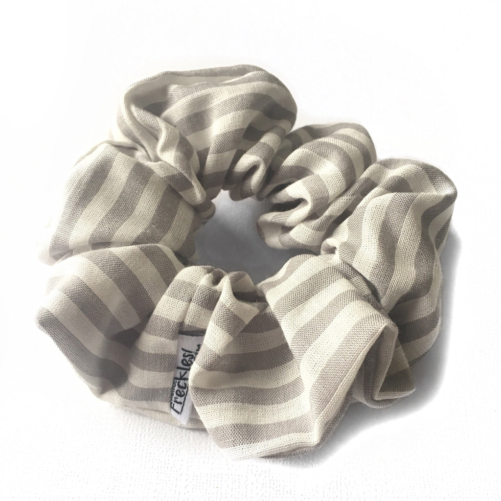 Sunshine Grey Stripe Scrunchie