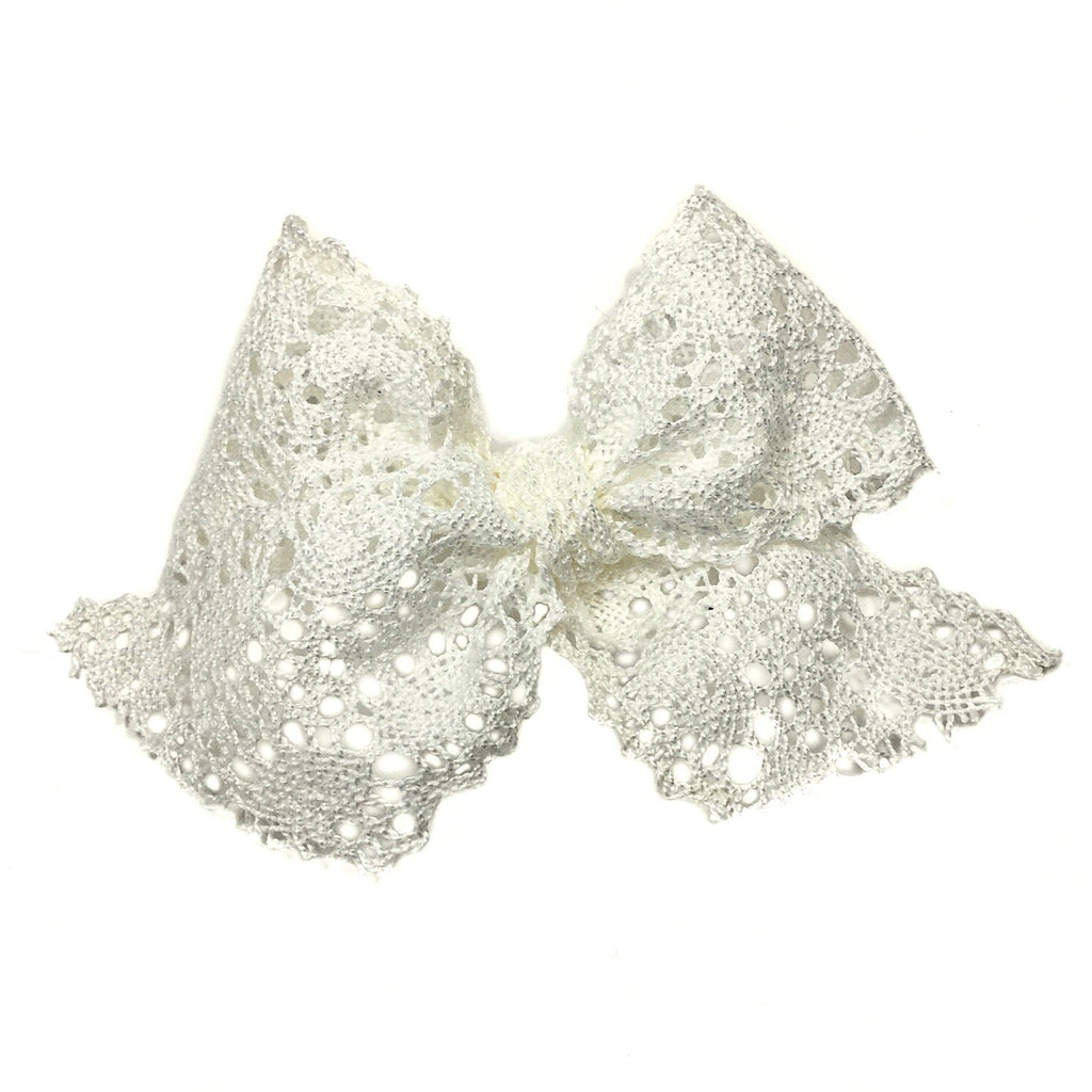 Oversized White Lace Bow