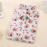Women Blouses Turn Down Collar Floral Long Sleeve Shirt