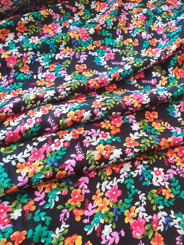 Florals on Black Viscose 1/4 Metre. NZ$4.50