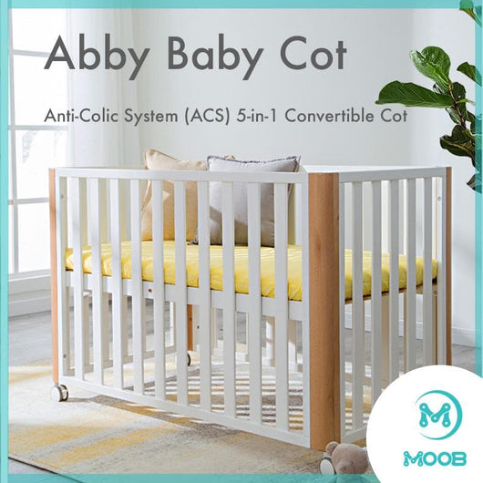 MOOB Baby Abby Anti-Colic System (ACS) 5-in-1 Convertible Baby Cot (120x65cm)