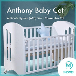 MOOB Baby Anthony Anti-Colic System (ACS) Convertible Cot with Drop-Gate (118x58cm)