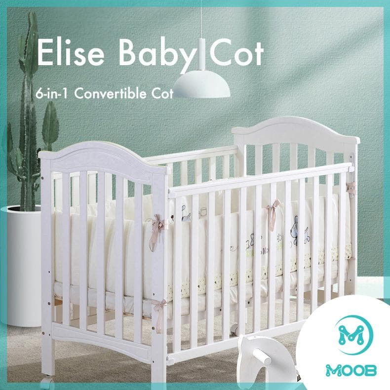 MOOB Baby Elise 6-in-1 Convertible Baby Cot with Drop-Gate (120x60cm) (ETA 23 Feb - White)