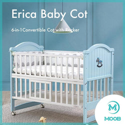MOOB Baby Erica 6-in-1 Convertible Baby Cot with Rocker