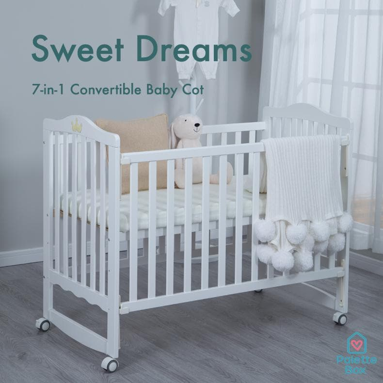 Palette Box Sweet Dreams 7-in-1 Convertible Baby Cot - Drop Gate (120x60cm) [Pre-order - ETA 28 April]