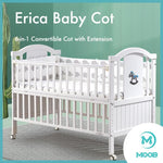 MOOB Baby Erica 6-in-1 Convertible Baby Cot with Extension (130x70cm)